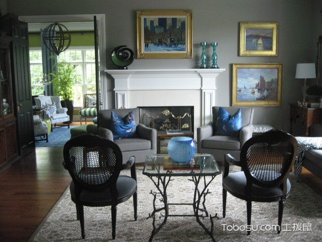 客厅咖啡色沙发美式风格装潢设计图片