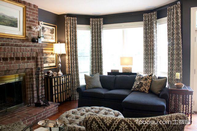 客厅灰色窗帘美式风格装饰效果图