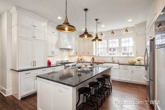厨房黑色吧台美式风格装饰图片