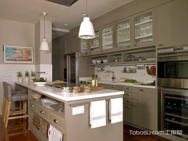 厨房灰色吧台美式风格装潢设计图片