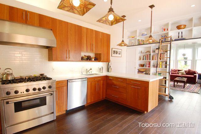 厨房咖啡色橱柜混搭风格装修效果图