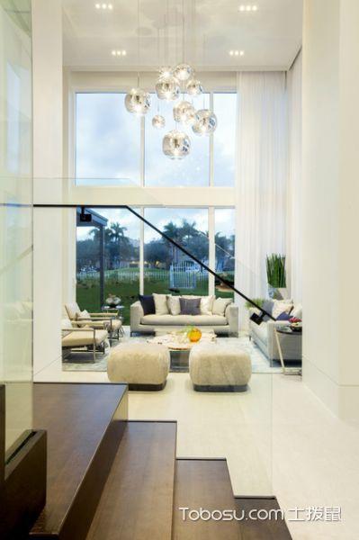 客厅白色灯具现代风格装饰图片