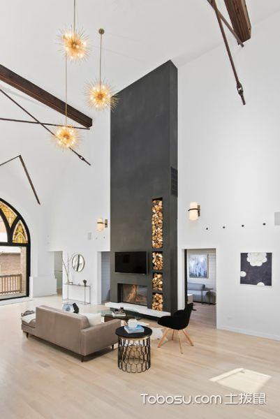 客厅黑色背景墙现代风格装饰图片