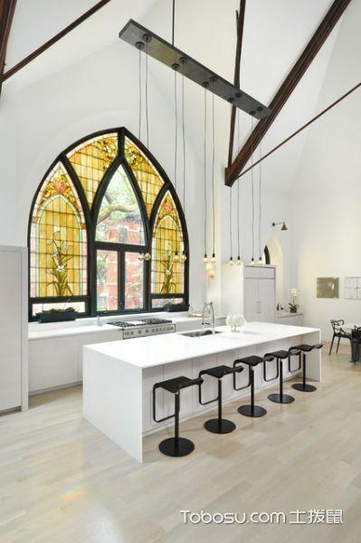 厨房白色吧台现代风格装潢图片