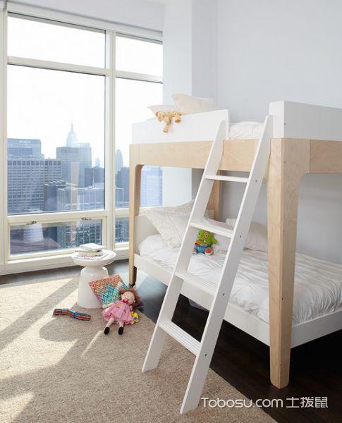 儿童房白色榻榻米现代风格装潢效果图