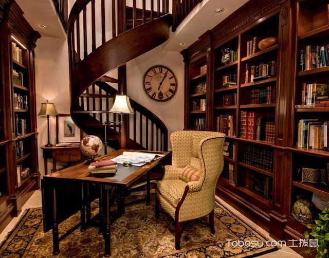 清新自然美式风格书房装修效果图