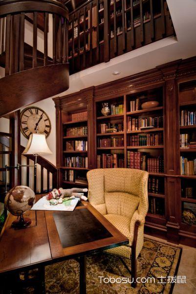 清新自然美式风格书房装修效果图_土拨鼠2017装修图片大全