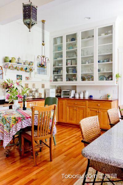 厨房黄色隔断简欧风格装潢图片