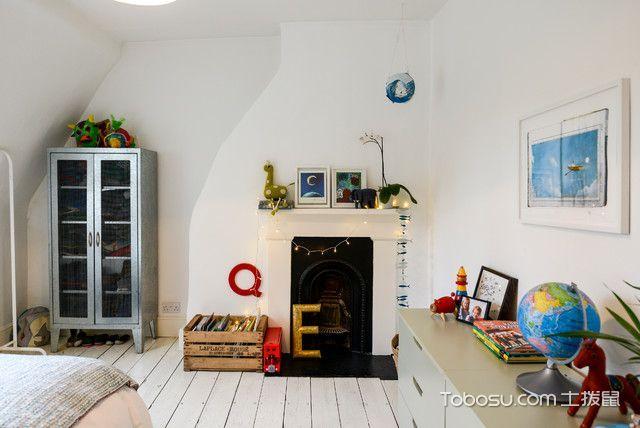 儿童房白色床头柜简欧风格装饰设计图片