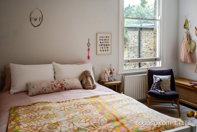 儿童房白色床头柜简欧风格装潢设计图片