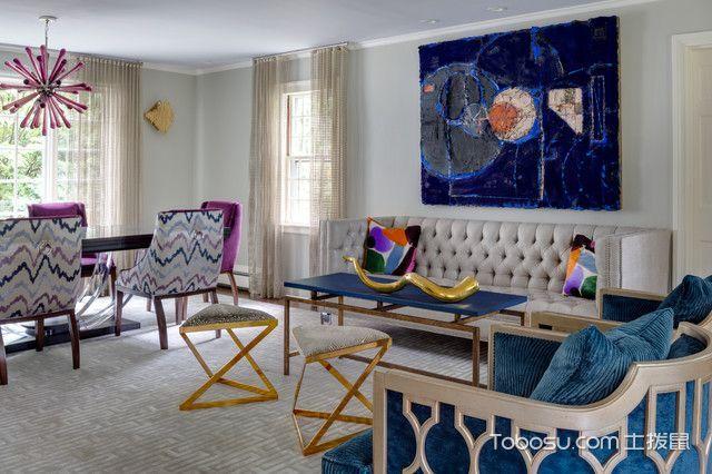 客厅白色照片墙混搭风格装潢设计图片