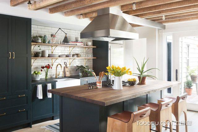 厨房米色背景墙混搭风格装潢图片