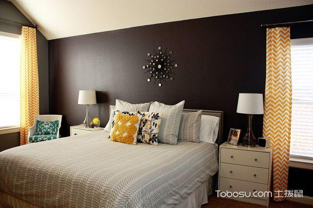 卧室黑色背景墙混搭风格装饰效果图