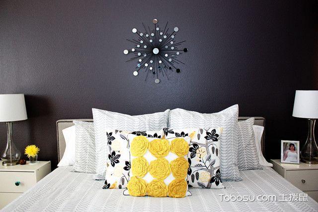 卧室黑色背景墙混搭风格装修图片