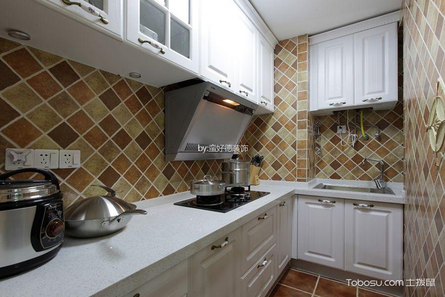 厨房 背景墙_湖畔林语90平米简欧风格二居室装修效果图