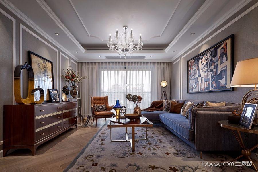 绿地gic130㎡三室新古典风格效果图