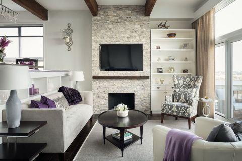 客厅灰色背景墙现代风格装修效果图