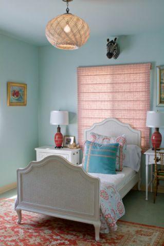卧室蓝色背景墙现代风格装修效果图
