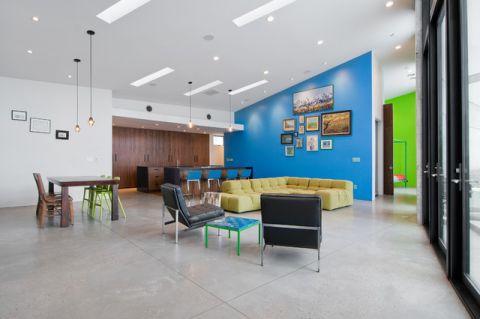 客厅蓝色背景墙现代风格效果图