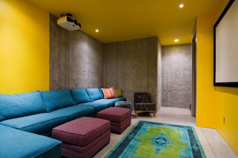 客厅黄色背景墙现代风格装饰效果图