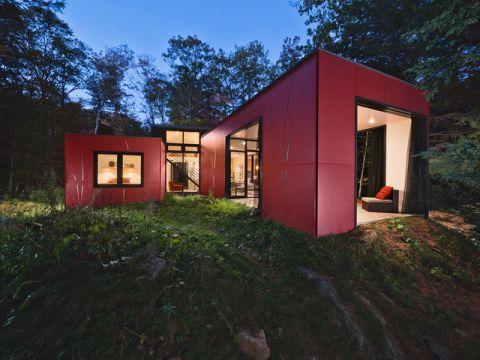 外景红色外墙现代风格装饰效果图