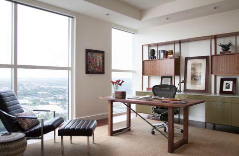 书房咖啡色书桌现代风格装潢效果图