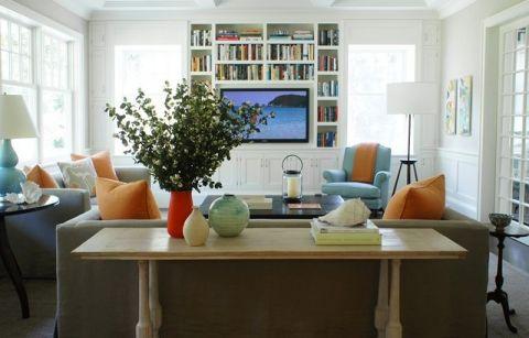 客厅白色背景墙现代风格装潢效果图