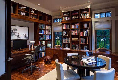 书房咖啡色书架现代风格装修效果图