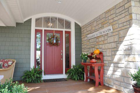 玄关红色门厅美式风格装修效果图