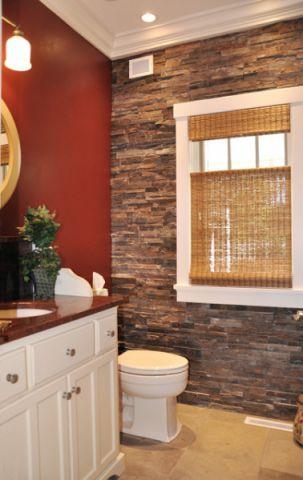卫生间黄色窗帘美式风格装潢图片