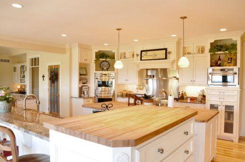 厨房黄色吧台美式风格装修设计图片
