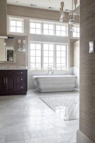 卫生间白色浴缸美式风格效果图