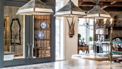 厨房灰色灯具美式风格装潢效果图
