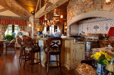 厨房咖啡色细节美式风格装饰设计图片