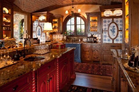 厨房咖啡色细节美式风格装修效果图