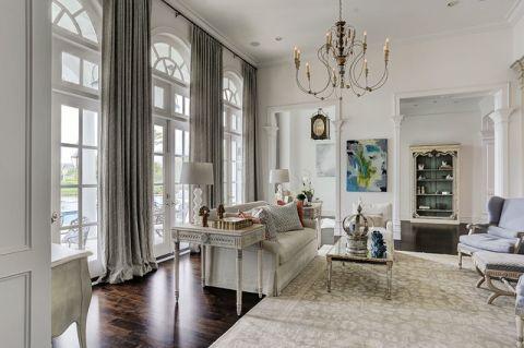 客厅白色细节美式风格装饰效果图