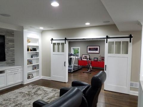 客厅白色门厅美式风格装修设计图片
