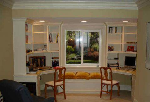 书房白色书架美式风格装饰图片