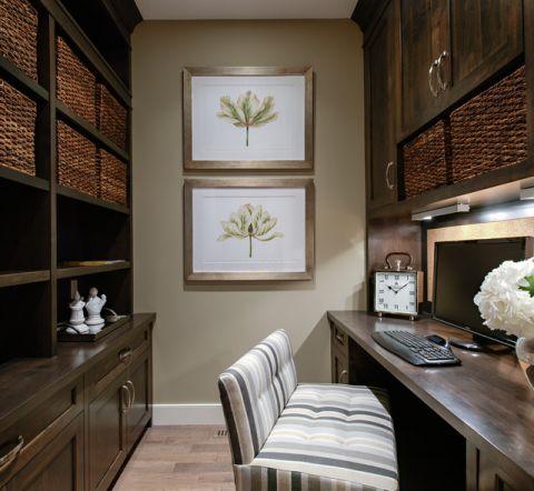 书房咖啡色细节美式风格装修效果图