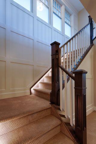客厅咖啡色楼梯美式风格装修图片