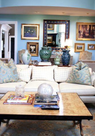 客厅蓝色照片墙美式风格效果图
