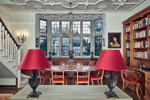 餐厅红色细节美式风格装修设计图片