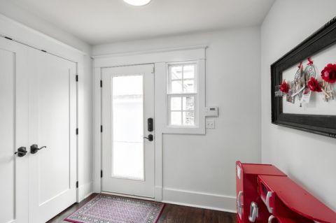 玄关白色门厅美式风格装潢设计图片