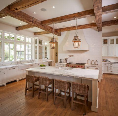 厨房白色吊顶美式风格装饰效果图