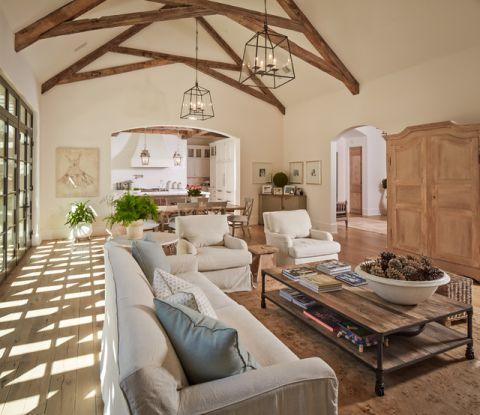 客厅白色细节美式风格装潢效果图