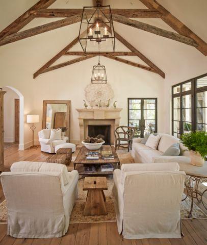客厅咖啡色吊顶美式风格装修设计图片
