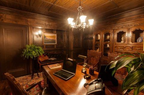 书房咖啡色细节美式风格装饰设计图片