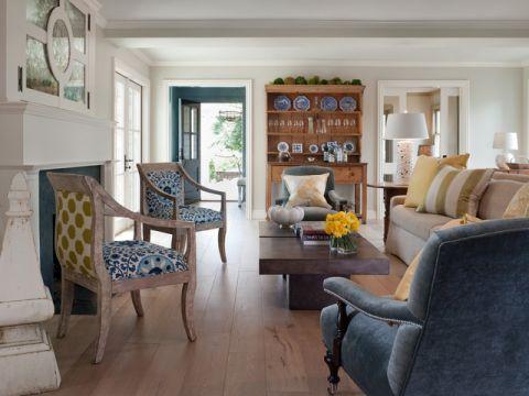 客厅蓝色沙发美式风格装饰图片