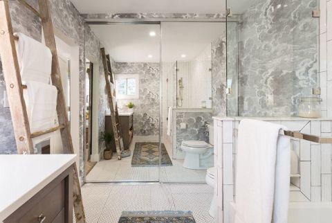 卫生间白色推拉门美式风格装潢效果图