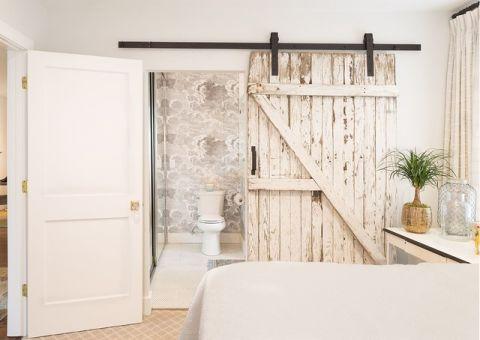 卧室白色推拉门美式风格装饰图片